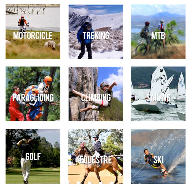 moto, trekking, bici, parapente, escalada, velear, golf, equitación, esquí en valle de bravo