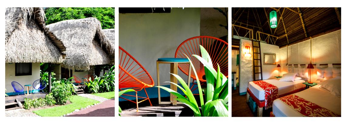 Las cabañas están construidas de manera tradicional con adobe y palapa de palma y decoradas con tenangos bordados y sillas acapulco en sus balcones