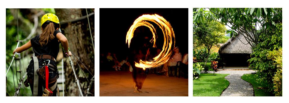 Rodavento Natural ofrece gran variedad de actividades como tirolesa en los mangos, batucada con fuego y enormes palapas de palma